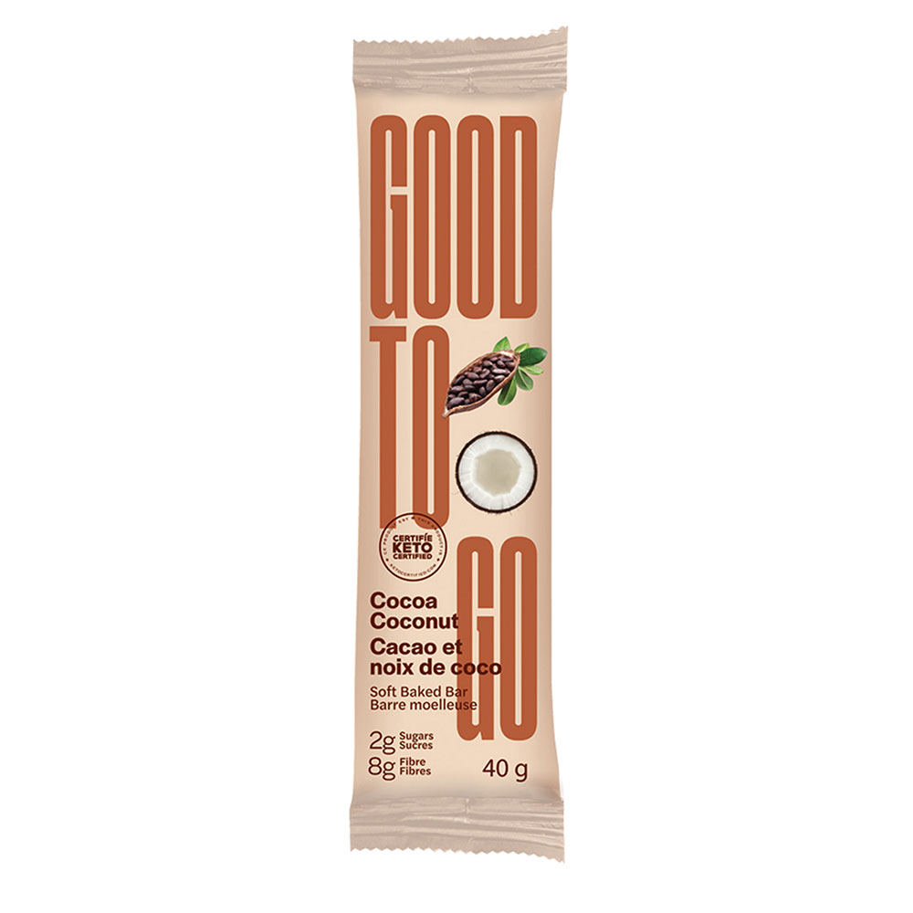 : Good To Go Keto Snack Bars, Cocoa Coconut, 9 Bar Pack