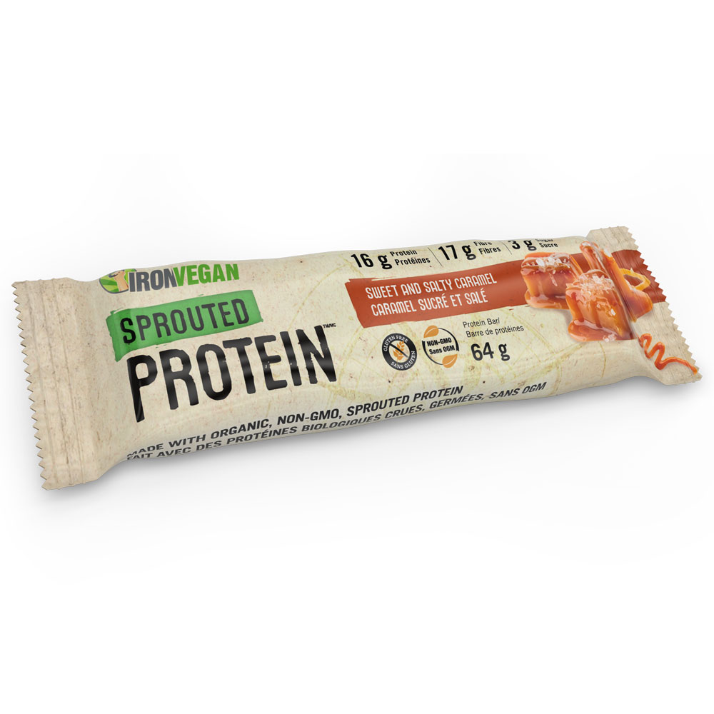 : Iron Vegan Sprouted Protein Bar, Sweet and Salty Caramel